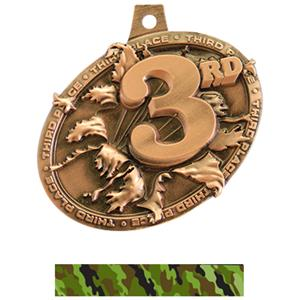 BRONZE MEDAL/CAMO GREEN NECK RIBBON