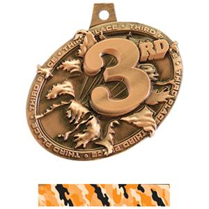 BRONZE MEDAL/CAMO ORANGE NECK RIBBON
