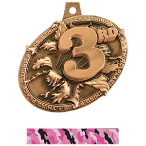 BRONZE MEDAL/CAMO PINK NECK RIBBON