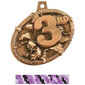 BRONZE MEDAL/CAMO PURPLE NECK RIBBON
