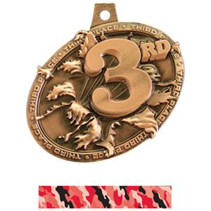 BRONZE MEDAL/CAMO RED NECK RIBBON