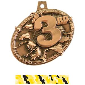 BRONZE MEDAL/CAMO YELLOW NECK RIBBON