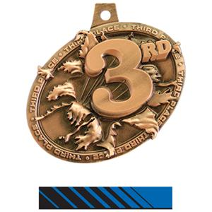 BRONZE MEDAL/PHOENIX BLUE NECK RIBBON
