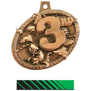 BRONZE MEDAL/PHOENIX GREEN NECK RIBBON