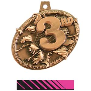 BRONZE MEDAL/PHOENIX PINK NECK RIBBON