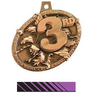 BRONZE MEDAL/PHOENIX PURPLE NECK RIBBON