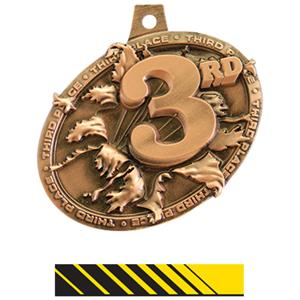 BRONZE MEDAL/PHOENIX YELLOW NECK RIBBON