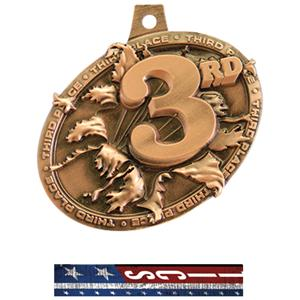 BRONZE MEDAL/PATRIOT GYMNASTIC NECK RIBBON