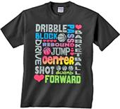 Image Sport Basketball Glitter Words T-Shirt