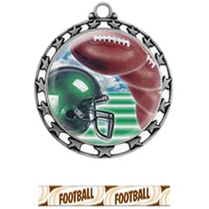 SILVER MEDAL / DELUXE FOOTBALL RIBBON