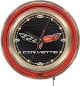 Holland GM Corvette C6 Black Face Neon Logo Clock