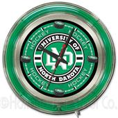 University of North Dakota Hockey Neon Logo Clock