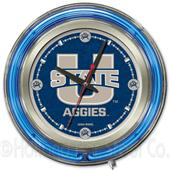 Holland Utah State University Neon Logo Clock