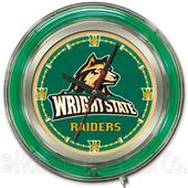 Holland Wright State University Neon Logo Clock
