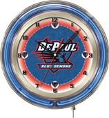"Holland DePaul University Neon 19"" Clock"