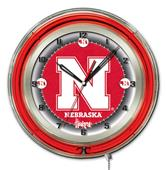 "Holland University of Nebraska Neon 19"" Clock"