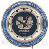 "Holland Utah State University Neon 19"" Clock"