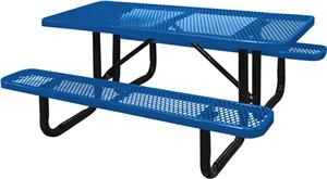 Highland Rectangular Diamond Metal Picnic Table Playground - Playground picnic table