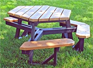 Highland ADA Hexagon Recycled Plastic Picnic Table Playground - Ada picnic table requirements