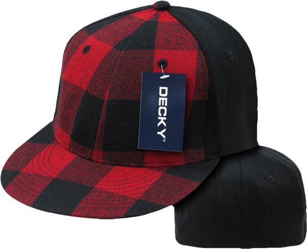 b3389f3c685e Decky Plaid Flat Bill 6-Panel Flex Caps
