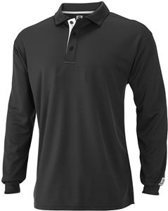 Russell 3-Button Men's Wicking Long Sleeve Polo. Embroidery is available on this item.