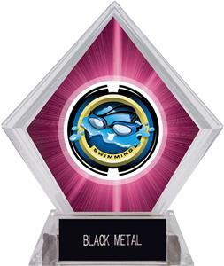 "2"" Saturn Swimming Pink Diamond Ice Trophy"