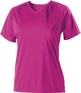 Womens Small-WS  PINK V-Neck Semi-Fitted T-Shirt - CO