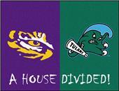 Fan Mats NCAA LSU/Tulane House Divided Mat