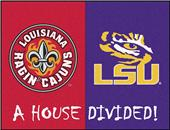 Fan Mats NCAA UL-Lafayette/LSU House Divided Mat