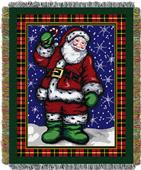 Northwest Plaid Santa Woven Tapestry Throw