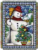 Northwest Village Snowman Woven Tapestry Throw