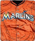 Northwest MLB Marlins Jersey Raschel Throw