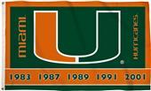 BSI College Miami Hurricanes 3'x5' Flag w/Grommets