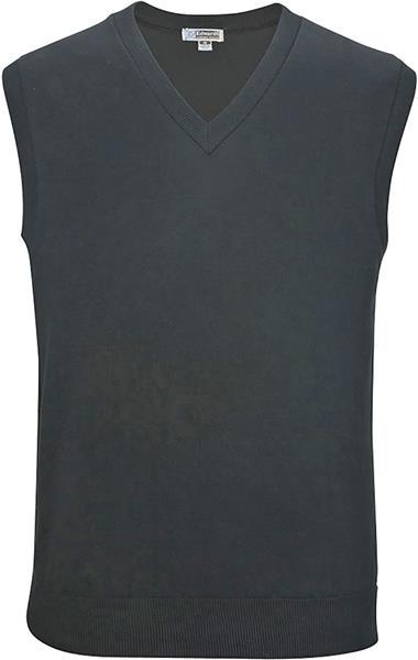 Large Black Edwards Garment MenS Fine Gauge Soft V Neck Cuff Cotton Sweater