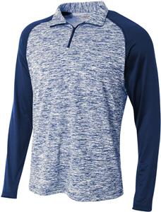 A4 Adult 1/4 Zip Long Sleeve Space Dye Pullover