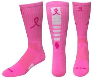 Breast Cancer Pink Ribbon Hero Crew Socks