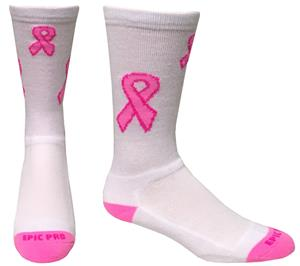 Breast Cancer White Pink Ribbon Crew Socks