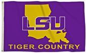 Collegiate LSU 3'x5' Flag w/State Outline
