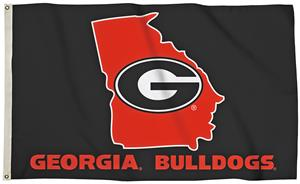 Collegiate Georgia 3'x5' Flag w/State Outline