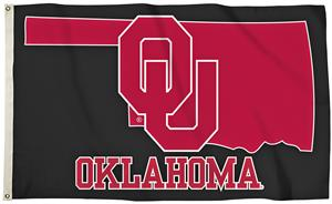 Collegiate Oklahoma 3'x5' Flag w/State Outline