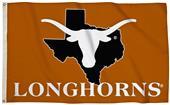 Collegiate Texas 3'x5' Flag w/State Outline