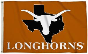 Collegiate Texas 3'x5' Flag w/State Outline