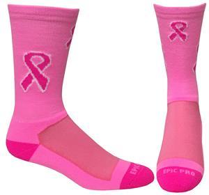 Breast Cancer Pink Ribbon Crew Socks