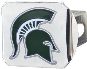 Fan Mats NCAA Michigan St Chrome/Color Hitch Cover