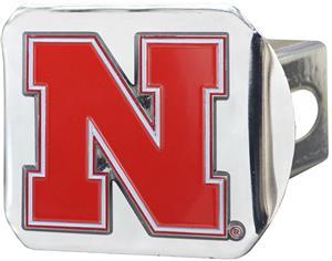 Fan Mats NCAA Nebraska Chrome/Color Hitch Cover