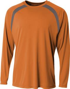 A4 Adult Spartan Long Sleeve Color Block Crew. Printing is available for this item.