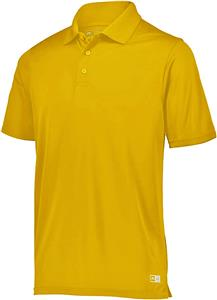 Mens GOLD Wicking Essential Polos C/O. Embroidery is available on this item.