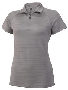 Russell Women Small Cooling Striated White Polo CO