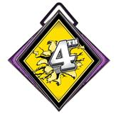 """Excel 3"""" Purple Medal Bust Out 4th Place Mylar"""