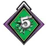 """Excel 3"""" Purple Medal Bust Out 5th Place Mylar"""